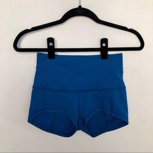 Lululemon | Wunder High Waisted Yoga Blue Shorts 6